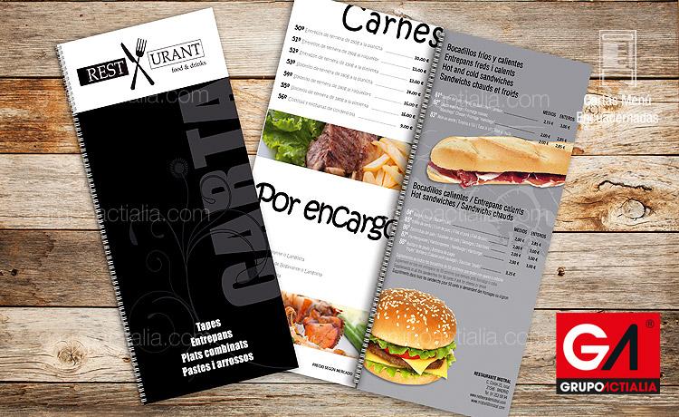 0 cartas men restaurantes libro encuadernadas a5 for Disenos de menus para cafeterias