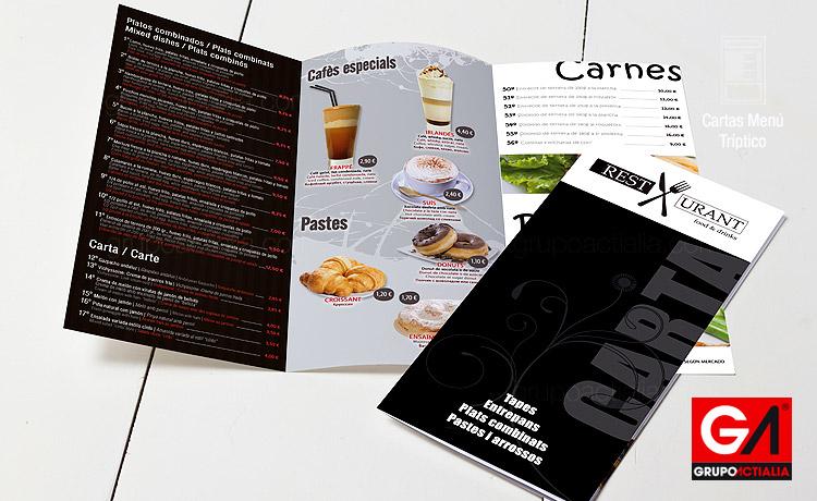 155 cartas men restaurantes tr ptico a5 largo for Disenos de menus para cafeterias